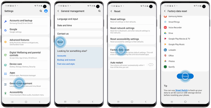 Using the Settings menu to Factory Reset the Samsung Galaxy Phone